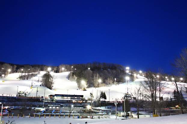 Glen Eden ski slopes at night..