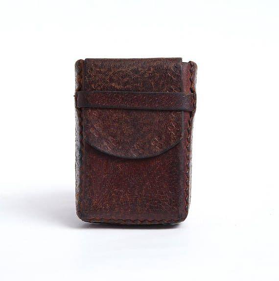 Vintage Leather Cigarette Case Old Cigarettes Box Holder
