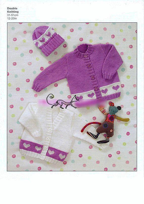 PDF Digital Premature Knitting Pattern Baby Cardigan and Hat Heart Motif Border 12-20 Double Knitting £1