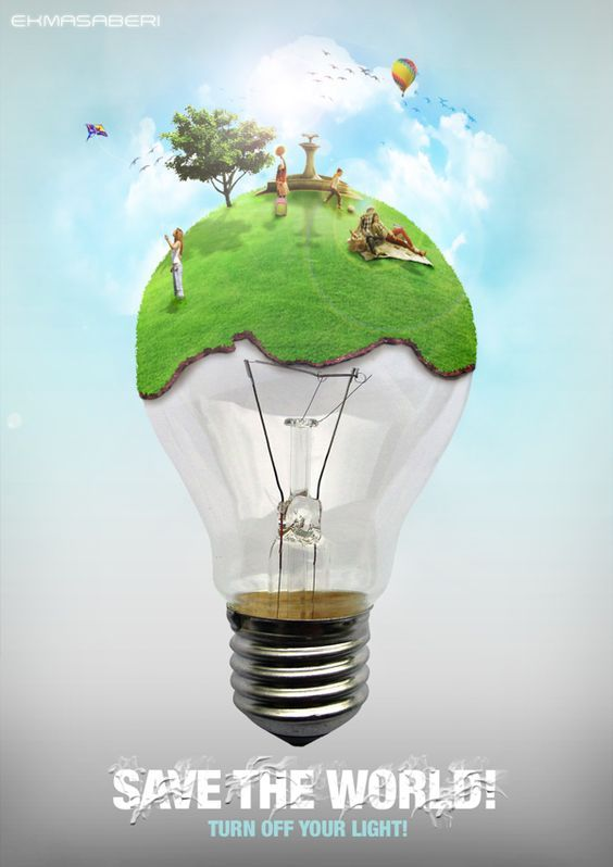 Reduce the energy light to save earth from global worming , i like how they marge the picture and how the colors, however i like the font also. https://www.pinterest.com/pin/313422455295445018/