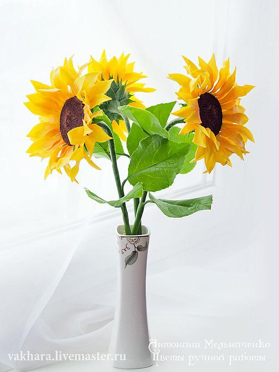Купить Подсолнухи - украшения ручной работы, цветы из полимерной глины, интерьерная композиция