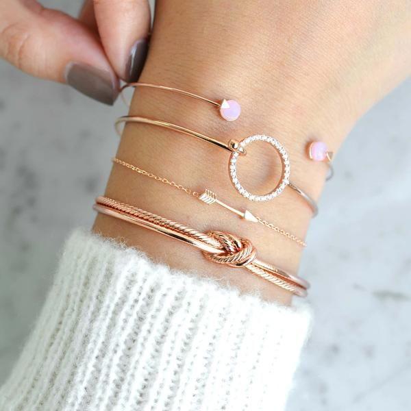 Ivy Sweet Pink Rose Gold Bangle Bracelet