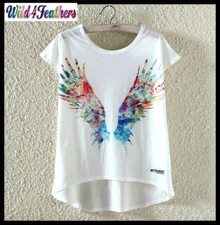 Women's T-Shirt Fashion Soft Top Feather Wing Print Designs 3 Sizes