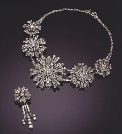 Diamond necklace and brooch of Princesse Soraya Esfandiary Baktiary, former wife of the Shah of Iran.