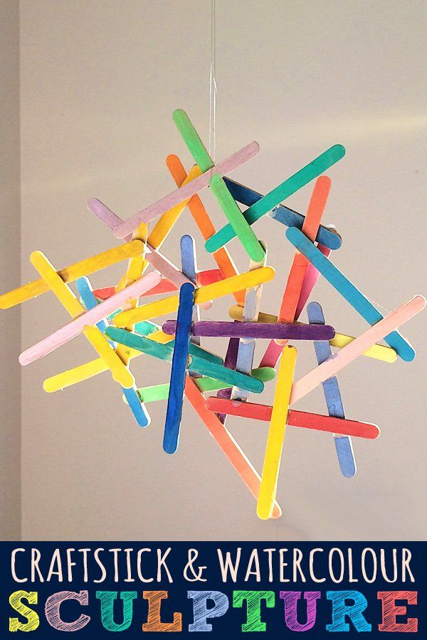 Craft stick and watercolour sculpture. These are so fun to make and they look so cool hanging up.