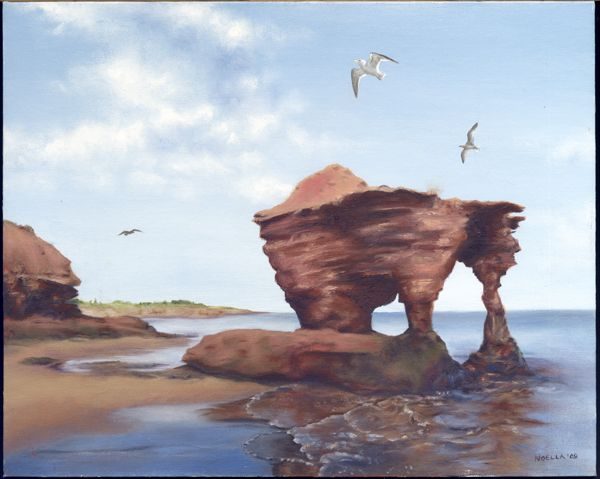 Rock formation with view of Twin Shores on Prince Edward Island. Painted with oils.