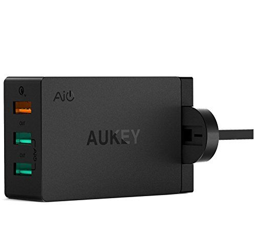 Cheap AUKEY Quick Charge 3.0 USB Wall Charger 3 Ports 43.5W for Samsung S8 iPhone 7/7 Plus iPad Air 2/iPad Pro Nexus LG G5 and more Best Selling
