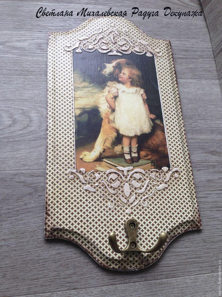 Купить настенная вешалка ключница Собаки винтаж овчарка сенбернар спаниэль де - коричневый