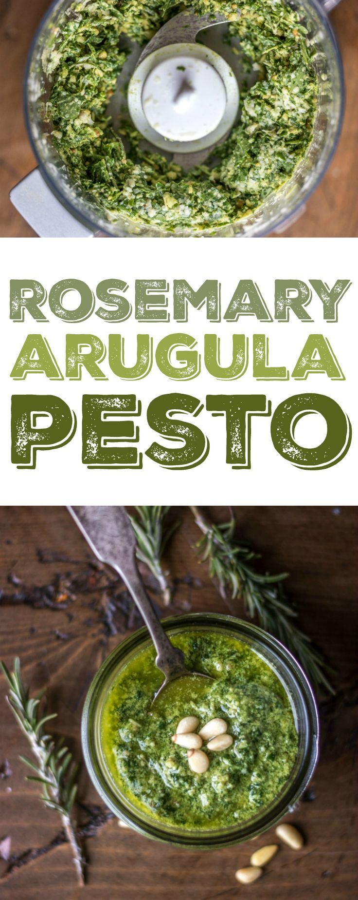 This homemade Rosemary Arugula Pesto takes just 5 minutes to make -- try it on anything from pasta to fish!