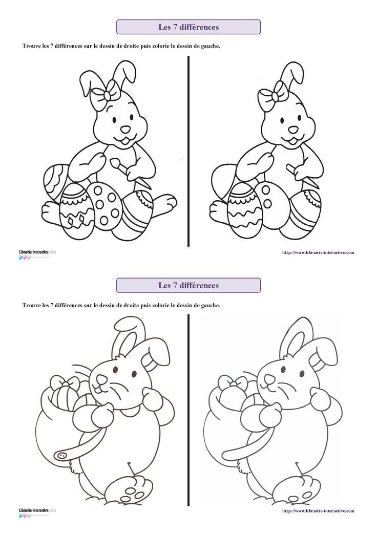 7 fiches sur le thème de Pâques (lapin, poule, oeufs...) pour s'entraîner à chercher les 7 différences entre deux images.