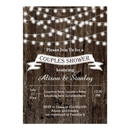 Rustic string lights wood wedding couples shower card - click to get yours right now!