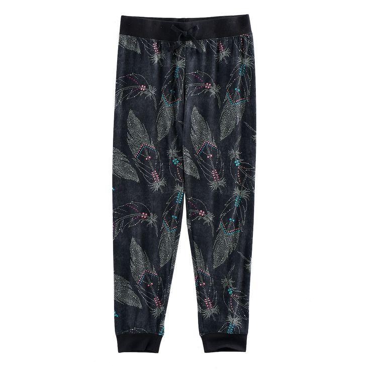 Girls 7-16 & Plus Size Mudd® Ribbed Waist Patterned Jogger Pants, Size: 16 1/2, Oxford