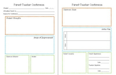 Parent teacher conference form general-classroom-things