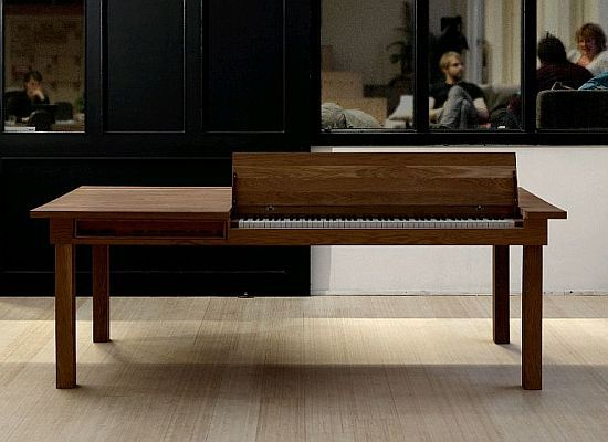 A table that turns into a piano. (Necessary for impromptu entertainment at dinner parties).: The Piano, Dinners Tables, Memorial Tables, Dinners Parties, Products Design, Dining Rooms Tables, Piano Tables, Dining Tables, Spaces Save Furniture