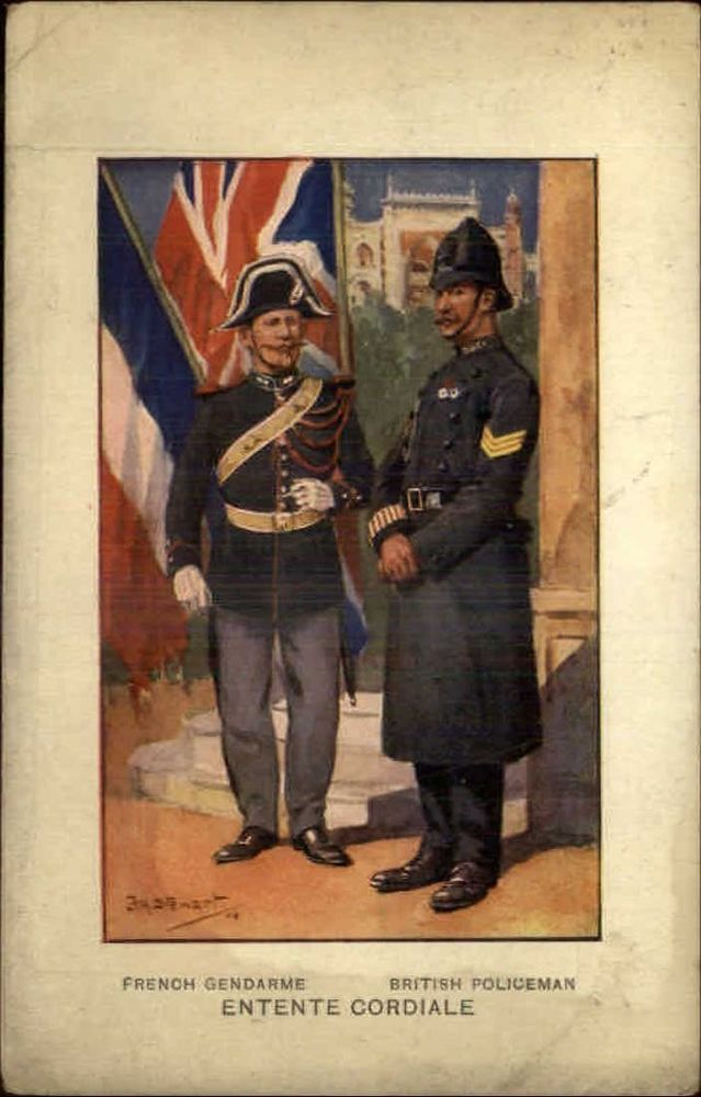 French Gendarme & British Policeman Uniforms Entente Cordiale c1910 Postcard
