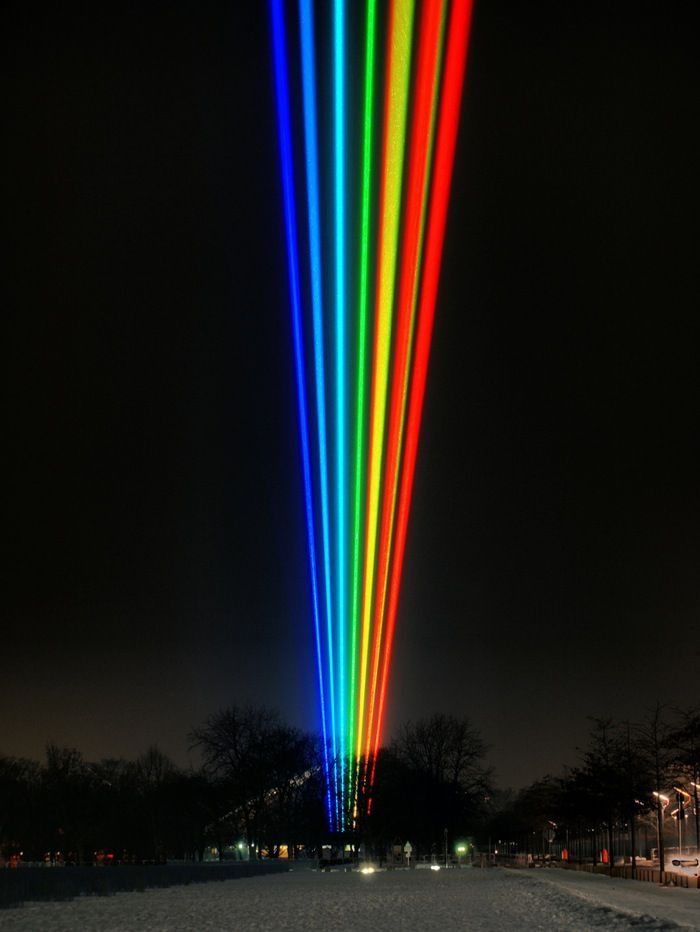 "Previous pinner: ""Berlin Lazer Rainbow The installation entitled From One To Many, was created by American and Berlin artist Yvette Mattern."""