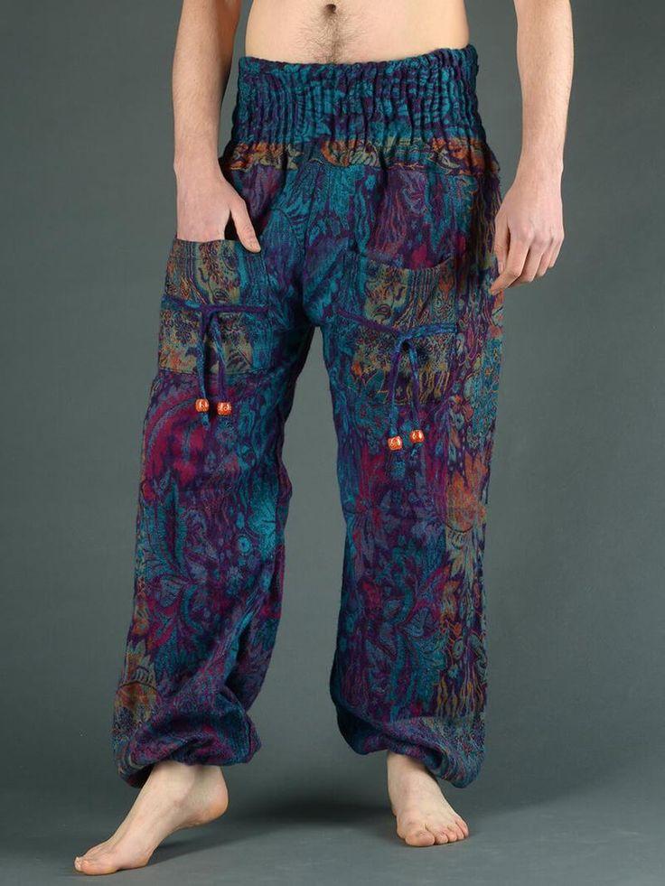 Pantalon bouffant laine imprimé fleurs indiennes (homme)