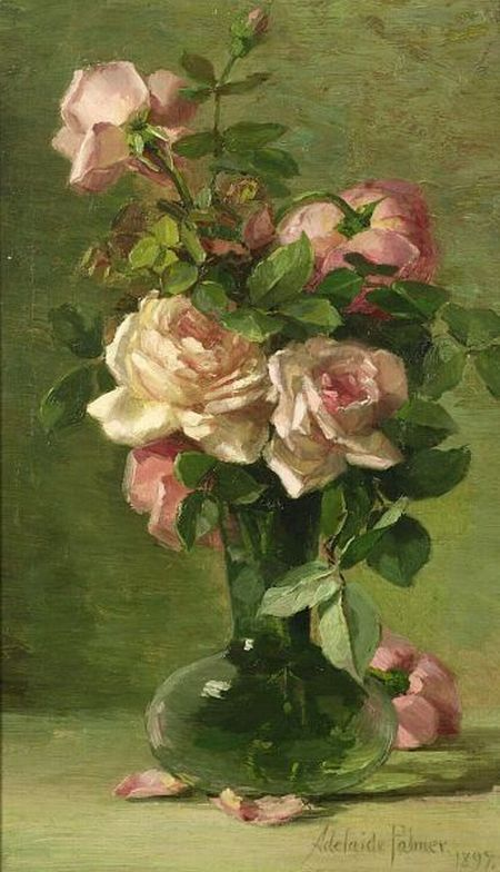 Green And Pink Roses By Adelaide Pal...