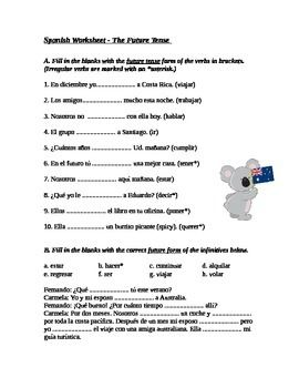 This file includes two options of the same worksheet. The first option is easier as the irregular verbs are marked with an asterisk. The second option does not feature the asterisk hint.Each worksheet has 10 short answer questions where students are expected to fill in the blanks with verbs in the future tense.