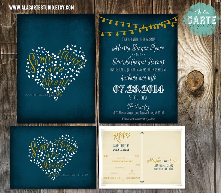 String Light Navy Blue Chalkboard Wedding Invitation Card and RSVP Design fee Cards ...