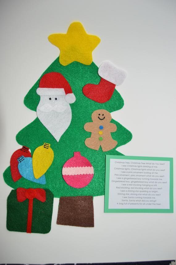 Christmas tree toy on felt,Christmas felt,Felt Sheets,Holiday Felt,Printed Felt Fabric,quiet book page,felt board story,quiet book,busy book
