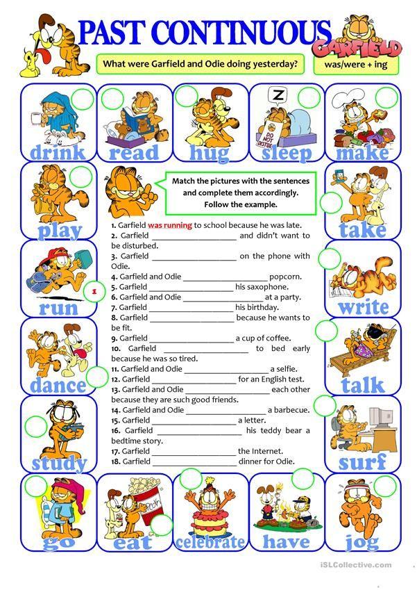 Past Continuous With Garfield Odie English Esl Worksheets Como Aprender Ingles Basico Ejercicios De Ingles Gramática Del Inglés