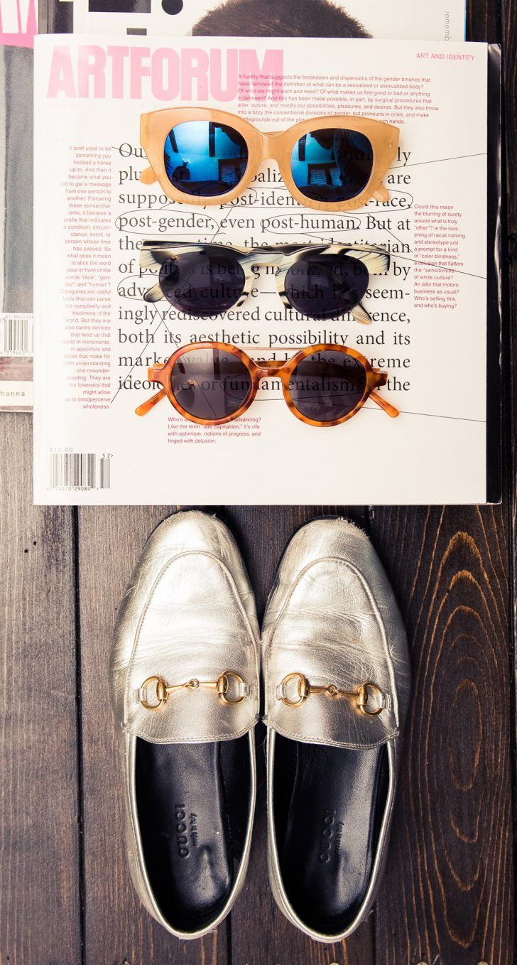 Inside Fashion Stylist Sophie Lopez's Closet: Various Designer Sunglasses with Silver Gucci Loafers | coveteur.com
