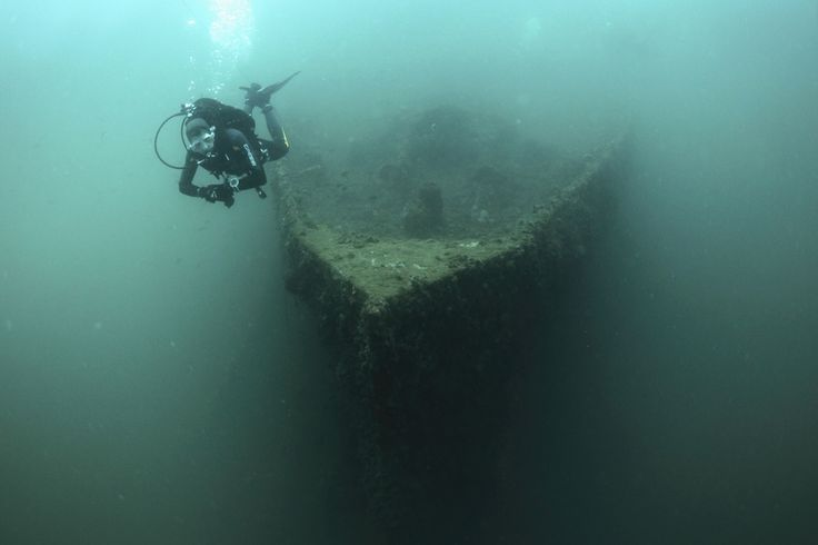 Image 32 of 35: A diver swims near the bow of the wreck of the Baron Gautsch ship, near the Adriatic town of Rovinj, Croatia, June 22, 2014. REUTERS/Antonio Bronic