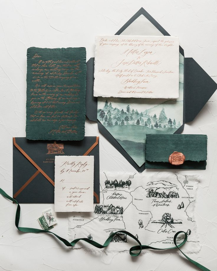 Intimate Wedding Invitation Wording: Intimate Emerald And Copper Invites // Tennessee