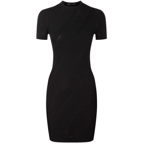 Versace Fitted Shift Dress ($690) ❤ liked on Polyvore featuring dresses, workwear dresses, round neck dress, shift dresses, fitted dresses and cap sleeve dress