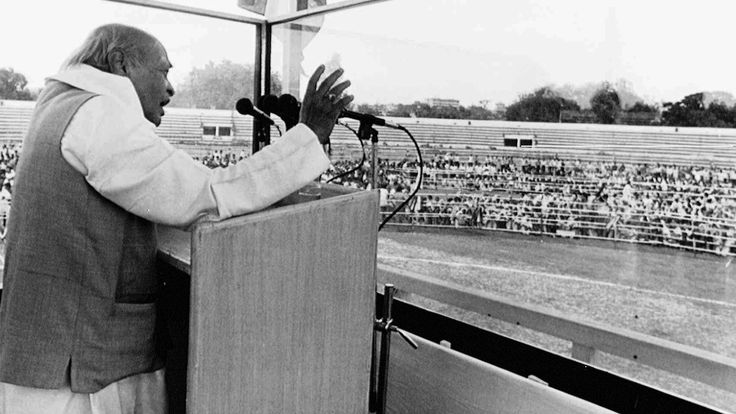 Indian prime minister P.V. Narasimha Rao addresses an election rally at Maulana Azad Memorial Stadium in Jammu, in the state of Jammu-Kashmir in northern India Sunday, May 5, 1996. It was the first visit by a prime minister to the state since the Muslim campaign for independence began in 1989. The state, troubled by separatist groups is to have elections for the first time since 1987 starting May 23.