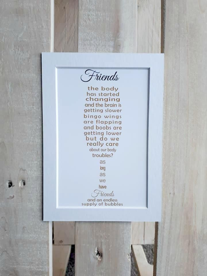 Friend Gift Personalised Bubbles Unframed 7x5 Print Gifts For Friends Bubbles Unique Cards