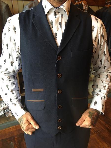Guide London Wool Blend Slim Fit Suit Waistcoat With Suedette Details - Navy - Master Debonair - 2