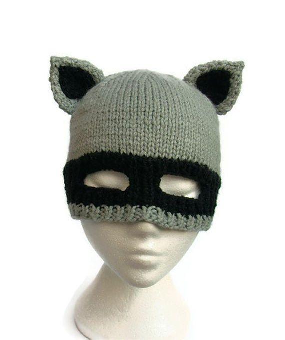 Raccoon hat knit racoon bandit balaclava animal ears mask beanie
