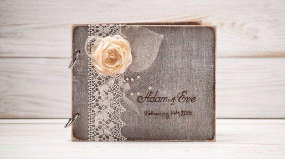 Custom Wood Wooden Wedding Guest Book Hand Engraved Names Bride Groom Ivory Wedding Present Anniversary Gift Bridal Shower Book Album /A-1