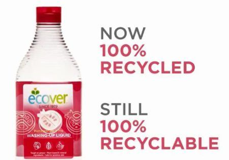 Belgian-owned Ecover has launched a washing up liquid bottle made of 100% recycled PET plastic bottles sourced from across Europe.