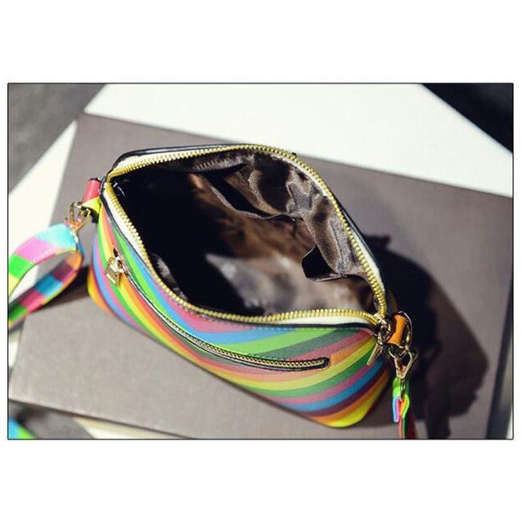 Vogue Star 2016 Rainbow shell bag summer beach Famous brand fashion PU leather women handbag rivet ladies shoulder bag  YK40-987