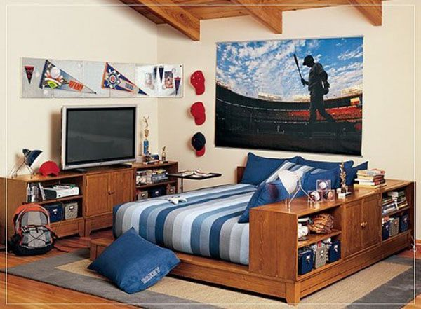 Wood bed lamp room young man teen design shelf curtain window blue coverlet TV