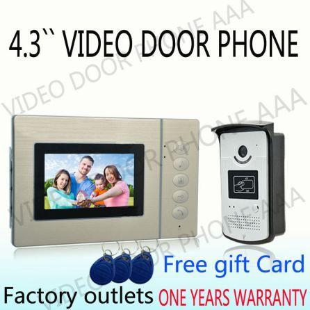 """4.3"""" Color Video Door Phone Wired Video Door Phone Monitor IR Outdoor Camera doorphone"""