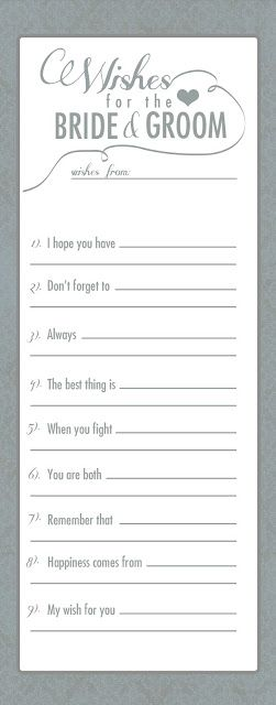 Scatter around in areas during the wedding and reception for guests to fill out and leave. Could also use this during showers.