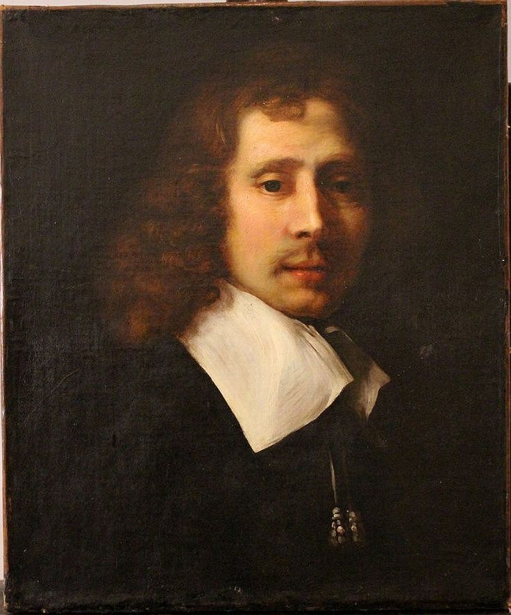 Phillippe de Champaigne (1602-1674)-attributed, Portrait of a gentleman with curly hair in front of dark background; oil on canvas. <br> 55x46cm