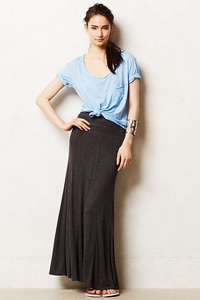 Charcoal maxi skirt paired with a blue flowy tee. Get the look with a charcoal maxi skirt on Amazon.