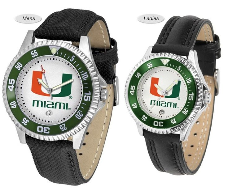 The Competitor Sport Leather Miami Hurricanes Watch is available in your choice of Mens or Ladies styles. Showcases the Hurricanes logo. Free Shipping. Visit SportsFansPlus.com for Details.