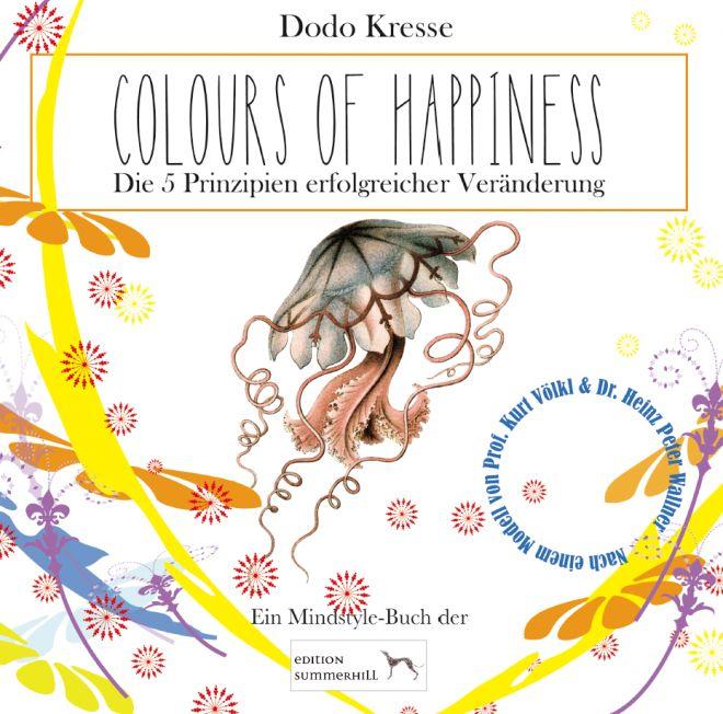 """Colours of Happiness - """"Die Farbmischung glänzte und lockte, wurde immer röter und lebendiger, bis sie das zu sein schien, was der Professor mit """"unwiderstehlich"""" betitelt hatte. Das nennt man wohl in Resonanz geraten, dachte Dañiel noch mit einem Rest von Sachlichkeit, bis ihn die Begeisterung vollends mitriss und kleine Entzückensseufzer ausstoßen ließ."""" (Dodo Kresse, Colours of Happiness)"""