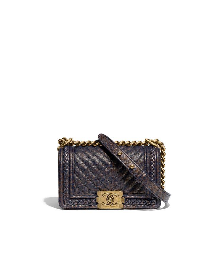 Bolsa BOY CHANEL pequena, couro de novilho granulado, trança & metal dourado-azul marinho - CHANEL  12 x 20 x 7