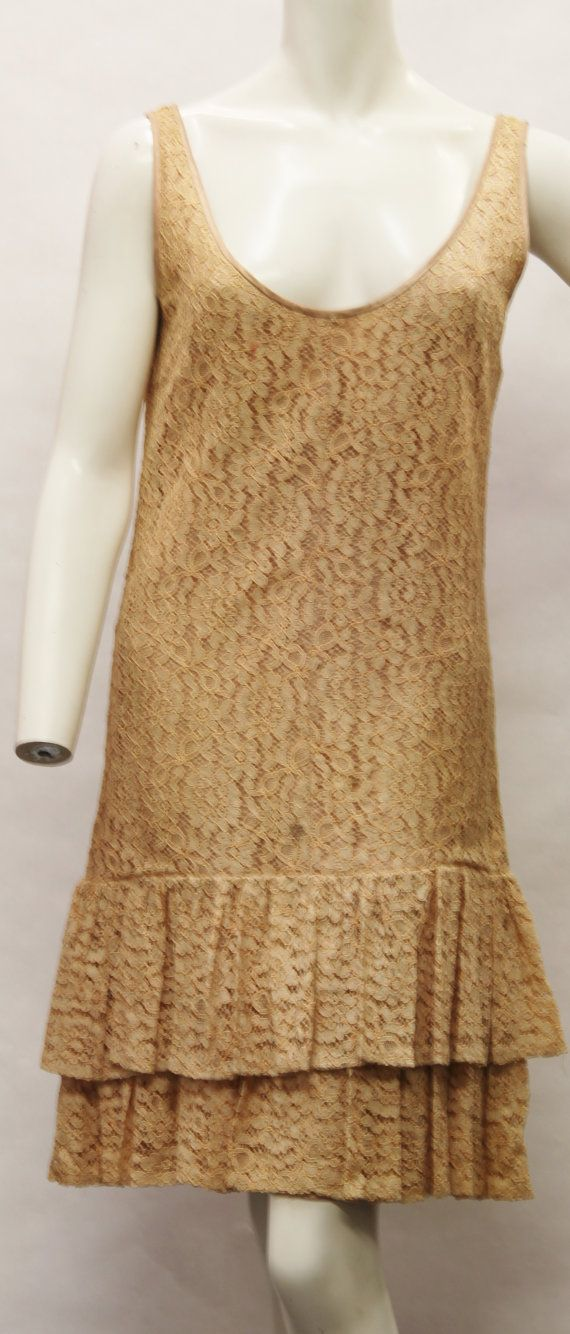 1950s Rose Gold Floral Lace Dress by theladiesroom08 on Etsy