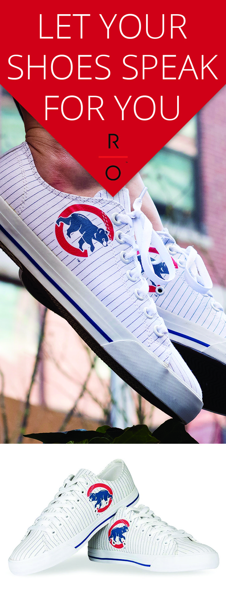 Row One offers a unique line of footwear that allows fans to show their loyalty to their favorite teams and schools.   https://www.rowonebrands.com/collections/chicago-cubs?utm_source=Pinterest&utm_medium=16.1P