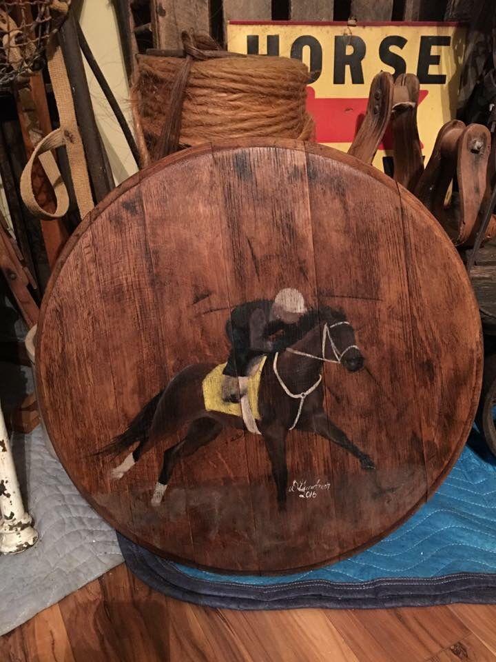 race horse hand painted on whiskey barrel head for sale artist danthia gardner danthiag