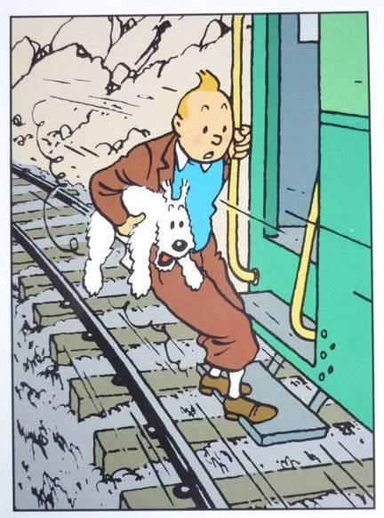 Hergé ~ Tintin and Milou in quite an ordeal