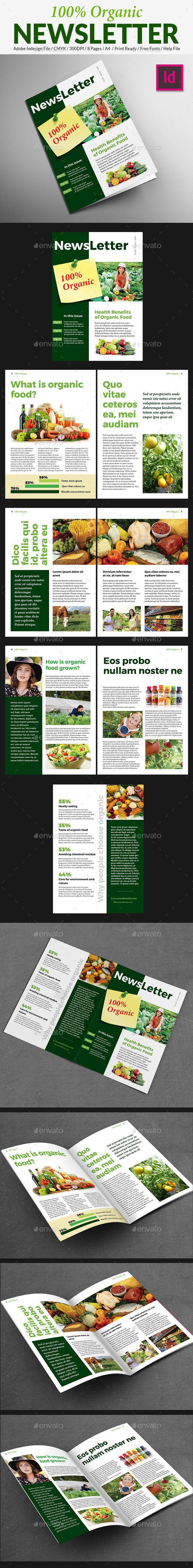 Organic Food Newsletter Layout TemplatePrint 632
